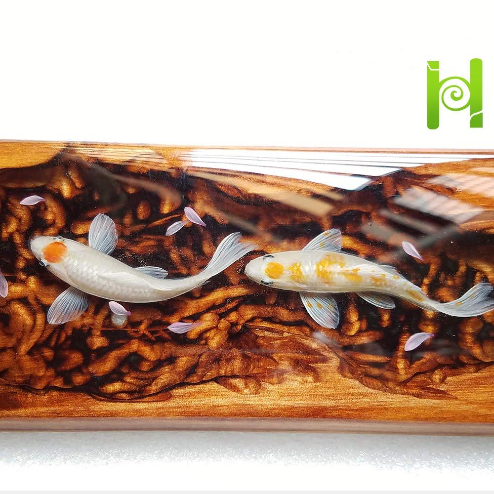 Custom Keycap Handmade Black Koi Fish Resin Wrist Rest,Artisan Wrist Rest,Handmade Wrist Rest,Gift for him,Gift for boy,best friend gifts